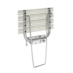 HELP Siège de douche rabattable avec jambe de sécurité 44x46x47cm, Acier inoxydable, Brossé (301102182)
