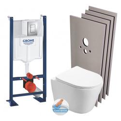Pack WC Bâti autoportant + WC Swiss Aqua Technologies Infinitio sans bride + Plaque + Set habillage (ProjectInfinitio-1-sabo)
