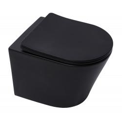 Cuvette suspendue Infinitio noir mat sans bride et fixations invisibles + abattant frein de chute (SATINFBKMrimless)