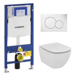 Pack WC Geberit Duofix + Cuvette Ideal Standard Tesi Aquablade + Plaque de commande Sigma01 Blanche