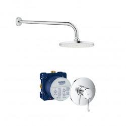 Concetto Set de douche avec Mitigeur mécanique + Corps encastré + Douche de tête 1 jet type pluie, Chrome (24053001-SET)