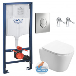Pack WC Bâti-support + WC Swiss Aqua Technologies Infinitio sans bride, fixation invisible + Plaque chrome (RapidSL-Infinitio-2)