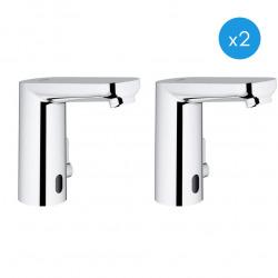 Eurosmart Cosmopolitan E Lot de 2 mitigeurs lavabo infrarouge 1/2″ avec limiteur de température ajustable, Chrome (36327001-DUO)