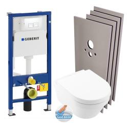 Pack WC Bâti UP100 + Cuvette Architectura sans bride fixations invisibles + Abattant + Set d'habillage (Architectura2Geb1-sabo)