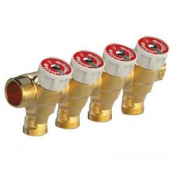 Collecteur avec robinets d'arrêt nourrice mâle - femelle 3/4, 4 sorties 1/2 entraxe 35 mm (R585CY374)
