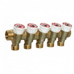 Collecteur avec robinets d'arrêt nourrice mâle - femelle 3/4, 5 sorties 1/2 entraxe 35 mm (R585CY375)