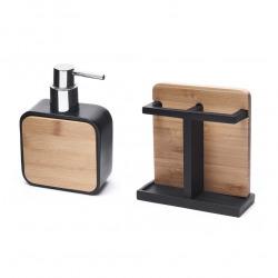 Hombre Set salle de bain avec Porte-brosse à dents +  Distributeur de savon en polyrésine et bois de bambou, Noir (HOM-SET1)