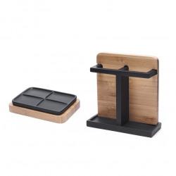 Hombre Set salle de bain avec Porte-brosse à dents + Porte-savon en polyrésine et bois de bambou, Noir (HOM-SET2)