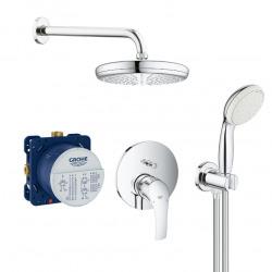 Eurosmart Set de douche avec mitigeur mécanique + Corps encastré + Douche de tête + Douchette 2 jets, Chrome (25219001-PERFECT)