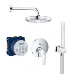 Eurosmart Set de douche tout en 1 avec douche de tête 21cm + Douchette 1 jet, Chrome (25219001-PERFECTCUBE)