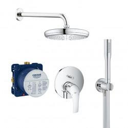Eurosmart Set de douche tout en 1 avec douche de tête 21cm + Douchette 1 jet, Chrome (25219001-PERFECTSTICK)
