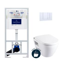 Pack WC Bâti-support avec Cuvette Serel SM10 + Abattant softclose + Plaque chrome (ViConnectSM10-1)