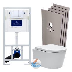 Pack WC Bâti-support + WC SAT sans bride et fixations invisibles + Plaque chrome + Set habillage (ViConnectSATrimless-1-sabo)
