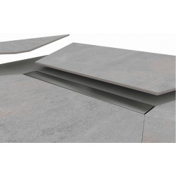 Kit Receveur de douche 140x90x4,8cm pré-carrelé + Caniveau décentré + Siphon horizontal, Oxy Grey (AQUCANOXY14090H)