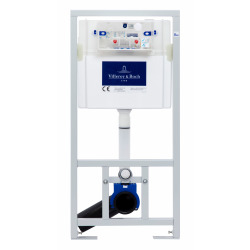 Pack WC Bâti-support + WC Swiss Aqua Technologies sans bride et fixations invisibles + Plaque chrome mat (ViConnectSATrimless-3)