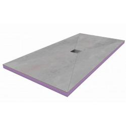 Kit Receveur de douche 120x90x4,8cm pré-carrelé + Grille décentrée + Siphon horizontal, Oxy Grey (AQUGRIOXY12090H)