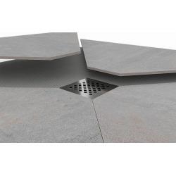 Kit Receveur de douche 180x90x4,8cm pré-carrelé + Grille décentrée + Siphon horizontal, Oxy Grey (AQUGRIOXY18090H)