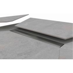 160x90x4,8cm Kit Receveur de douche pré-carrelé + Caniveau décentré + Siphon horizontal, Oxy Grey (AQUCANOXY16090H)