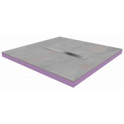 90x90x4,8cm Kit Receveur de douche pré-carrelé + Caniveau centré + Siphon horizontal, Oxy Grey (AQUCANOXY9090H)