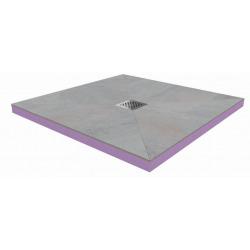 90x90x4,8cm Kit Receveur de douche pré-carrelé + Grille centrée + Siphon horizontal, Oxy Grey (AQUGRIOXY9090H)