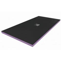 160x90x4,8cm Kit Receveur de douche pré-carrelé + Grille décentrée + Siphon horizontal, Basalto Black (AQUGRIBAS16090H)