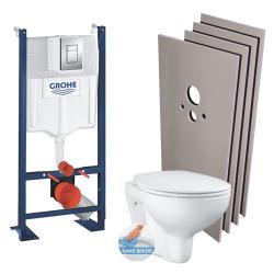 Pack WC bâti-autoportant + Cuvette sans bride + Abattant softclose + Plaque chrome + Set d'habillage (ProjectBau-1-sabo)