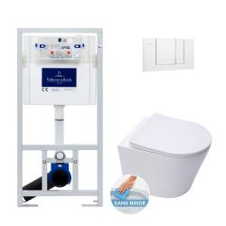 Pack WC Bâti-support + WC Swiss Aqua Technologies sans bride et fixations invisibles + Plaque blanche (ViConnectInfinitio-2)