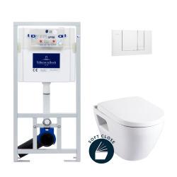 Pack WC Bâti-support avec Cuvette Serel SM10 + Abattant softclose + Plaque blanche (ViConnectSM10-2)
