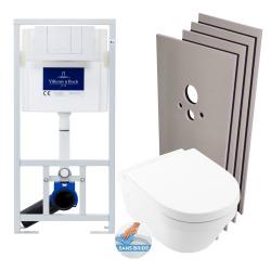 Pack WC Bâti-support + Cuvette Villeroy & Boch Architectura sans bride + Plaque blanche + Set habillage (ViConnectArchi2-2-sabo)