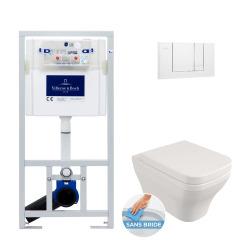 Pack WC Bâti-support + Cuvette Livea Roma sans bride carrée + Abattant softclose + Plaque blanche(ViConnectRoma-2)