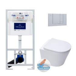Pack WC Bâti-support + WC Swiss Aqua Technologies sans bride et fixations invisibles + Plaque chrome mat (ViConnectInfinitio-3)