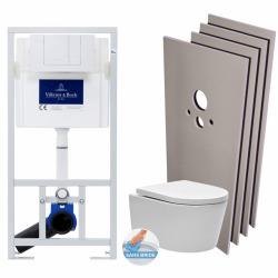 Pack WC bâti-support + WC sans bride + Abattant softclose + Plaque blanche + Set d'habillage (ViConnectSATrimless-2-sabo)