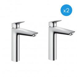 Logis Lot de 2 Mitigeurs de lavabo XL avec ComfortZone 190, Chrome (71091000-DUO)