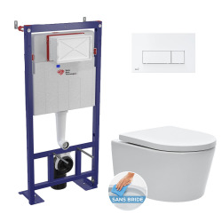 Pack WC bâti-autoportant + WC SAT sans bride fixations invisibles + Abattant softclose + Plaque blanche (SMART-SATrimless-4)