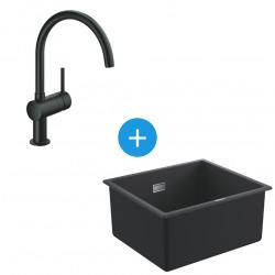 Kit Evier Quartz Noir Granite K700 417 x 366mm + Mitigeur Minta Noir col de cygne pivotant à 360° (31653AP0-SET6)
