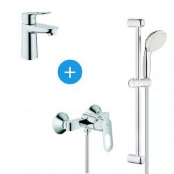 BauLoop Set mitigeur de douche + Barre de douche avec douchette 2 jets + Mitigeur lavabo, Chrome (23337000 & 23340000)
