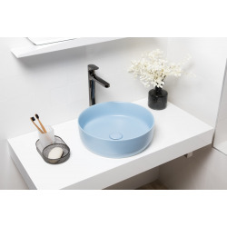 Vasque à poser Infinitio 39 x 39 x 12 cm sans trop-plein, bleu mat (SATINF3939LBLM)