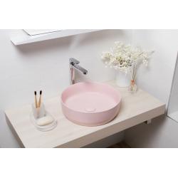 Vasque à poser Infinitio 39 x 39 x 12 cm sans trop-plein, rose mat (SATINF3939PM)
