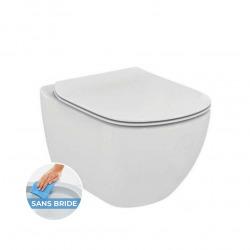 Pack WC Cuvette Suspendue sans bride + Abattant Soft Close, Blanc (TesiRimless)