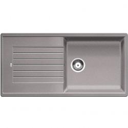ZIA XL 6 S  - évier composite de granit de SILGRANIT PuraDur II, bac avec égouttoir, couleur aluminium (520569)
