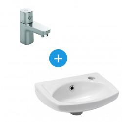 Lave main en céramique avec trop plein + Mitigeur eau froide, Chrome (EUR913B073)