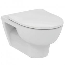 Giovo WC suspendu sans bride en porcelaine + Abattant frein de chute, Blanc (R008401)