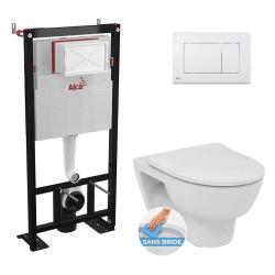 Pack WC Bâti-support autoportant + Cuvette GIOVO suspendue sans bride + Abattant softclose + Plaque blanche (AlcaGiovo-M270)