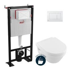 Pack WC Bâti-autoportant Alca + WC Architectura + Abattant softclose + Plaque blanche (AlcaArchitectura-M270)
