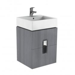 Twins Ensemble Meuble de salle de bain Argent Graphite 50x46x57cm + Vasque en céramique blanche avec trop plein (KOLO-89490000)