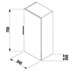 Cube Armoire de salle de bain 75cm avec porte fermeture softclose, Chêne foncé (H4537111763021)