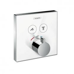 ShowerSelect Set de finition en verre pour mitigeur thermostatique ShowerSelect E encastré avec 2 fonctions