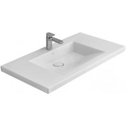 Plan de toilette Angulaire, 1000 mm x 550 mm, avec Ceramicplus, blanc