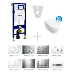 Pack WC Geberit Duofix + Cuvette Villeroy & Boch Softclose + Commande Geberit Sigma01 Chrome