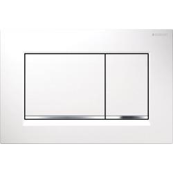 Plaque de déclenchement à double touche pour chasse d'eau Sigma 30, blanc/chromé brillant/blanc (115.883.KJ.1)